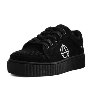 T.U.K. Shoes Black Faux Suede Anarchic RIOT Creeper
