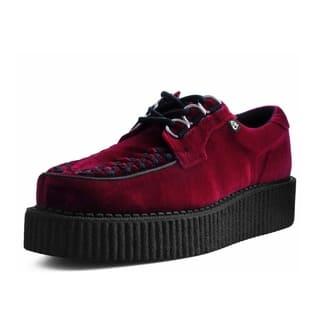 T.U.K. Shoes Burgundy Velvet Anarchic Creeper