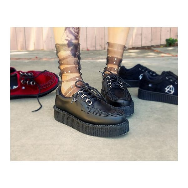 T.U.K Anarchic Mj Womens Black Leather Creeper Shoes