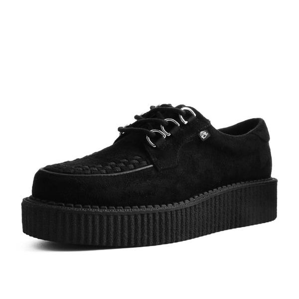 T.U.K. Shoes Black Faux Suede Anarchic