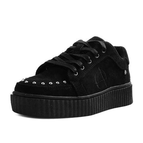 T.U.K. Shoes Black Faux Suede Studded Anarchic RIOT Creeper