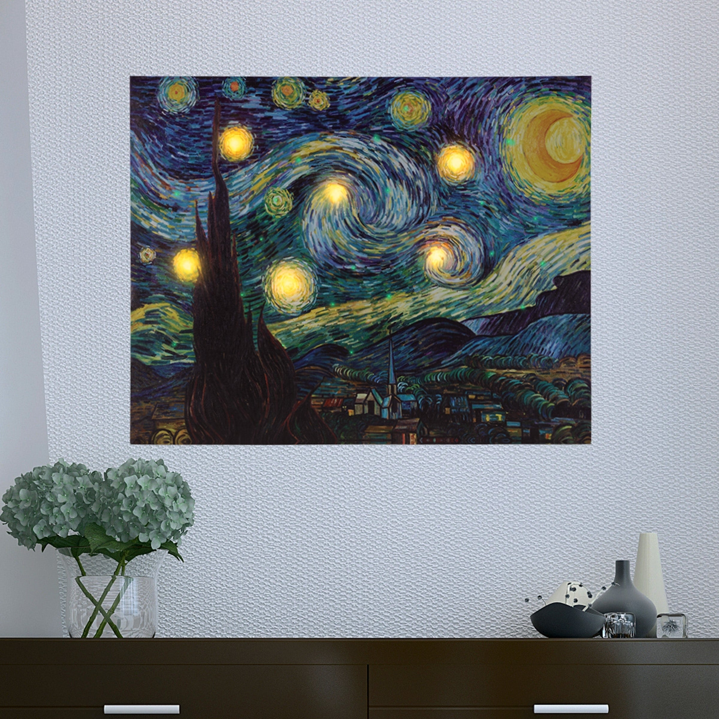 Shop Lighted Wall Art Canvas With Timer Van Gogh Starry Night