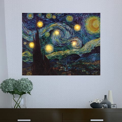 Lighted Wall Art Canvas With Timer- Van Gogh Starry Night Printed Decor with LED 16x20 by Lavish Home
