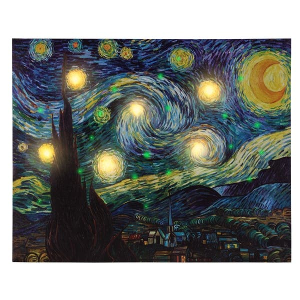 Shop Lighted Wall Art Canvas With Timer- Van Gogh Starry