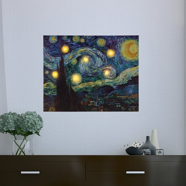 Shop Lighted Wall Art Canvas With Timer- Van Gogh Starry Night ...