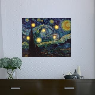 Lighted Wall Art Canvas With Timer- Van Gogh Starry Night Printed Decor with LED And Color 12x16 by Lavish Home
