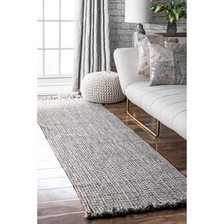 "nuLOOM Salt & Pepper Indoor Outdoor Braided Contemporary Ashley Fringe Edge Runner Area Rug - 2' 6"" x 8'"