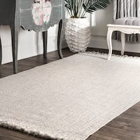 "nuLOOM Ivory Indoor Outdoor Braided Contemporary Ashley Fringe Edge Area Rug - 7' 6"" x 9' 6"""
