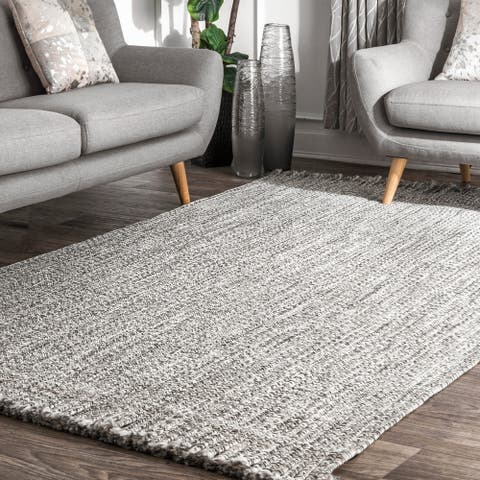 nuLOOM Salt & Pepper Indoor Outdoor Braided Contemporary Fringe Edge Area Rug