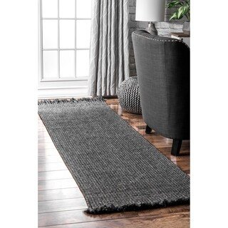 "nuLOOM Charcoal Indoor Outdoor Braided Contemporary Ashley Fringe Edge Runner Area Rug - 2' 6"" x 8'"