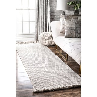 "nuLOOM Ivory Indoor Outdoor Braided Contemporary Ashley Fringe Edge Runner Area Rug - 2' 6"" x 8'"