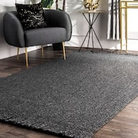 """nuLOOM Charcoal Indoor Outdoor Braided Contemporary Ashley Fringe Edge Area Rug - 7' 6"""" x 9' 6"""""""