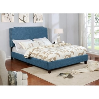 Queen Size Upholstered Panel Bed with Nail Head, Blue