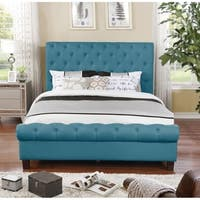 Blue Fabric Upholstered Queen Rounded Panel Bed