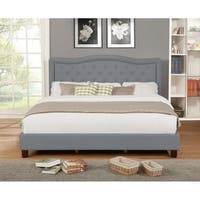 Grey Fabric Upholstered Eastern King Size Panel Bed with Nailhead