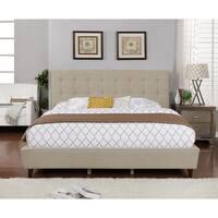 Beige Linen King-Sized Full Set Panel Bed