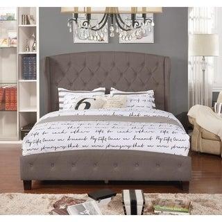 Queen Size Upholstered Platform Shelter Bed, Brown