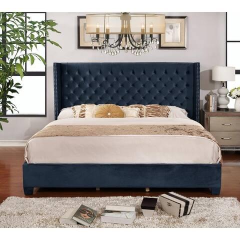 King Velvet Upholstered Button Tufted Wingback Bed Set, Blue