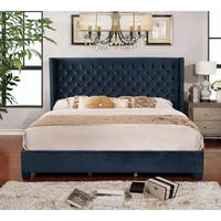 Blue Microfiber Button-tufted King Shelter Bed
