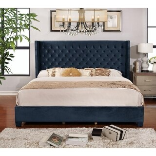 Shelter Button-tufted Blue Microfiber Queen Size Full Panel Bed Set