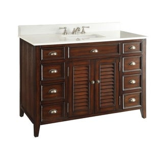 "46"" Benton Collection Abbeville Brown Cottage Style Bathroom Vanity"