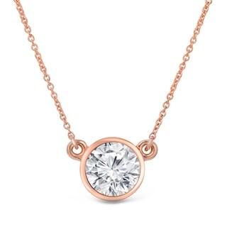 Auriya 14k Gold 1 1/2ct Bezel Set Solitaire Moissanite Necklace