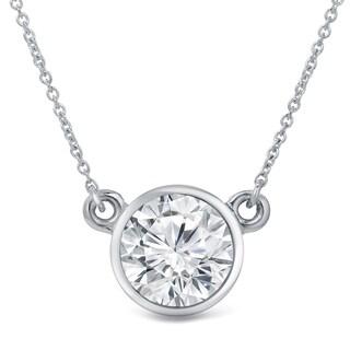 Auriya 14k Gold 3ct Solitaire Bezel Moissanite Necklace