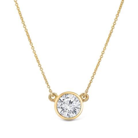 Auriya 14k Gold 1ctw Solitaire Moissanite Necklace Bezel-set - 6.5 mm - 6.5 mm