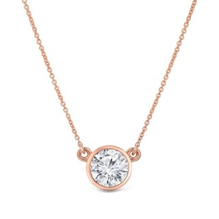 14k Gold Round 1ct Round Bezel Set Solitaire Moissanite Necklace by Auriya - 1.00ct
