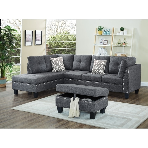Shop Linen Fabric Nail Head Sectional Sofa With Storage Ottoman Free Shipping Today
