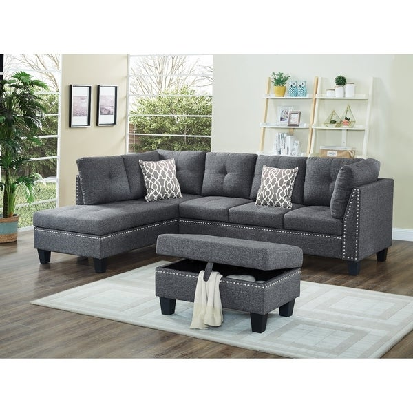 Linen Fabric Nail Head Sectional Sofa With Storage Ottoman