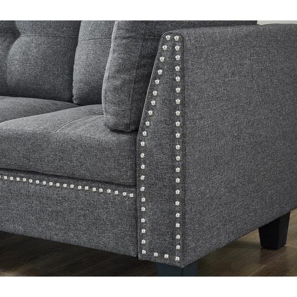 Stupendous Linen Fabric Nail Head Sectional Sofa With Storage Ottoman Inzonedesignstudio Interior Chair Design Inzonedesignstudiocom