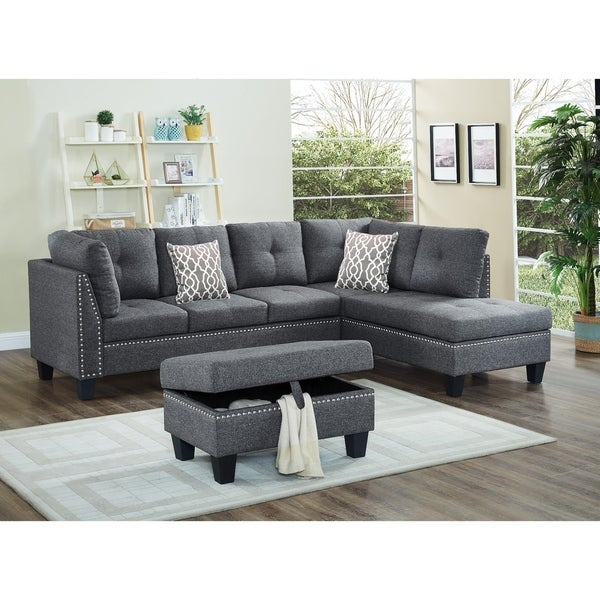 Merveilleux Linen Fabric Nail Head Sectional Sofa With Storage Ottoman