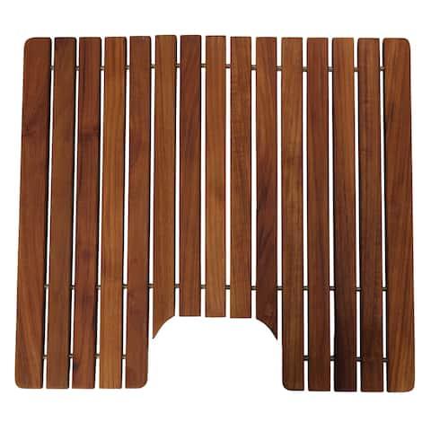Bare Decor Peter Genuine Solid Teak Wood Toilet Mat, 20x18 - 20 x 18