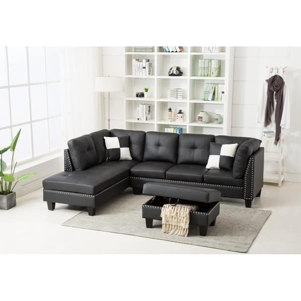 Sensational Shop Faux Leather Nail Head Sectional Sofa With Storage Gmtry Best Dining Table And Chair Ideas Images Gmtryco