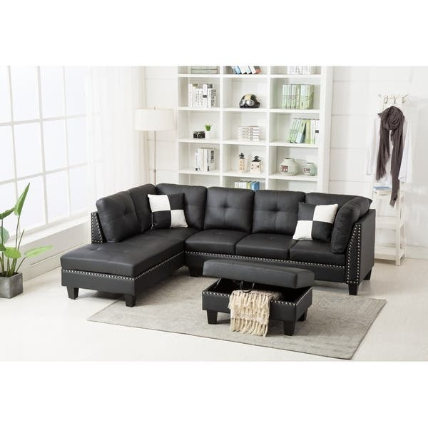 Shop Faux Leather Nail Head Sectional Sofa with Storage Ottoman ...
