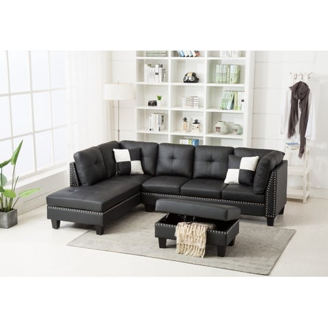 Faux Leather Nail Head Sectional Sofa with Storage Ottoman