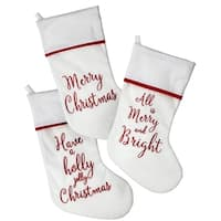 "20"" Velvet ""Merry Bright Holly"" Stocking 3 Piece Set"