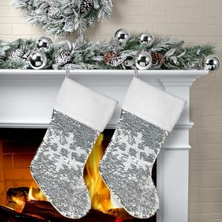 20 sequin snowflake stocking 2 piece set