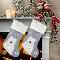 "20"" Felt Polar Bear Stocking 2 Piece Set"