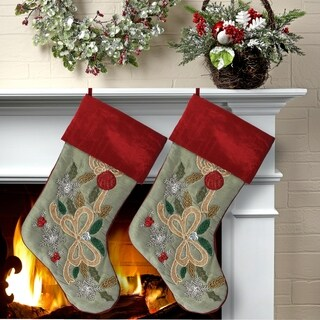 "20"" Beaded Holly,Ball,Ribbon Detail Stocking 2 Piece Set"