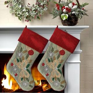 20 beaded hollyballribbon detail stocking 2 piece set - Red And Green Christmas Stockings