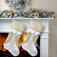 "20"" Fabric Flying Winged Angel Stocking 2 Piece Set"