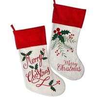"""20""""Embroidered """"Merry Christmas""""/Holly Stocking 2 Piece Set"""