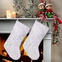 "20""  Led White Snowflake Stocking 2 Piece Set"