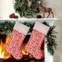 "22"" Deer/Snowflake Woven Stocking 2 Piece Set"