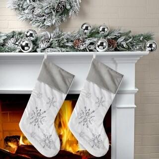 """20"""" Silver Snowflake Stocking 2 Piece Set"""