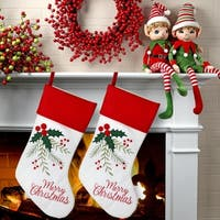 """20"""" Holly Red Cuff 'Merry Christmas' Stocking 2 Piece Set"""
