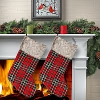 "20"" Plaid With Fur Cuff Stocking 2 Piece Set"