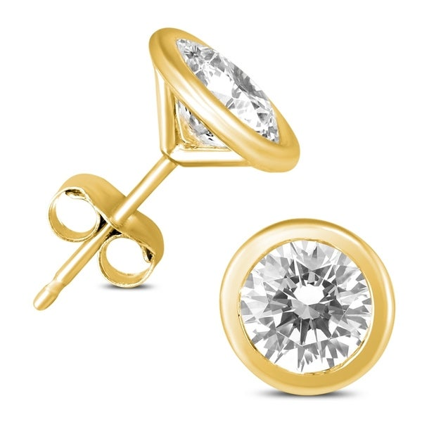 19b748013 Shop 1 Carat TW AGS Certified Bezel Diamond Solitaire Stud Earrings in 14K  Yellow Gold - On Sale - Free Shipping Today - Overstock - 22815410